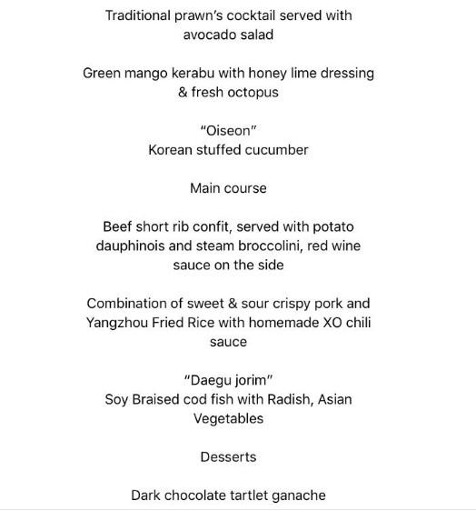 Nhà Trắng công bố thực đơn bữa trưa công việc giữa hai phái đoàn Mỹ và Triều Tiên. Thực đơn kết hợp các món ăn phương Đông và Tây, bao gồm: salad tôm trộn quả bơ, salad xoài xanh và bạch tuộc tươi, sườn bò, thịt lợn chua ngọt, cơm rang Dương Châu và món tráng miệng là kem Haagen Dazs, bánh Tart Tropezienne.   Có tổng cộng 14 đại biểu tham dự bữa trưa công việc, bao gồm hai nhà lãnh đạo Trump - Kim.